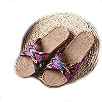EULAGPRE Zapatillas de Lino Zapatos de Piso Zapatillas de Cinturón Cruzado Silent Sweat Sandalias de Mujer de Verano