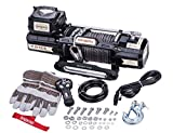 Sinoking 12VDC 12500LB/5670kg Electric Winch, Off-Road Winch with 2/5' × 85' (feet) Synthetic Rope, Advanced Wireless Remote Control, Easy Operated Clutch Lever