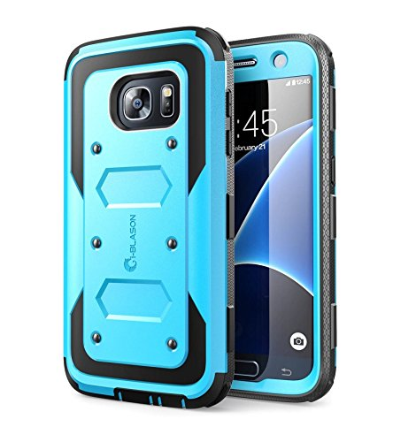 i-Blason Cover Galaxy S7 Custodia Rigida a 360 gradi Protezione per Display Integrata [Armorbox] Rugged Case per Samsung Galaxy S7 2016, Blu