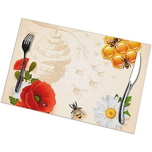 Liumt Gekleurde Honing Samenstelling Placemats, Tafelmatten Set van 6, Placemats Hittebestendige Vlekbestendige Anti-Skid Wasbaar
