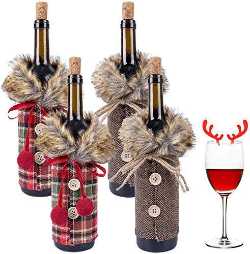 Lurowo 4 fundas para botellas de vino de Navidad, suéter de lino a cuadros para botellas de vino con cuello de piel sintética, bolsas de vino para decoraciones de Navidad Ordenamiento de fiesta