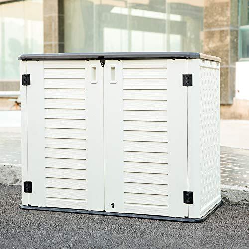 Kinying Outdoor Storage Shed - Horizontal Storage Shed Waterproof for Garden, Patios, Backyards, Multi-Opening Door Convenient Storage Bilke, Garbage Cans, Tools, Lawn Mower, Off-White, 26 Cubic Feet