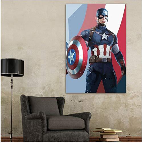 DIRART Rahmenlos Digitale Malerei Färbung Durch Zahlen Modulare Malerei Captain America Digitale Malen Nach Zahlen DIY Digital Painting 40X50Cm