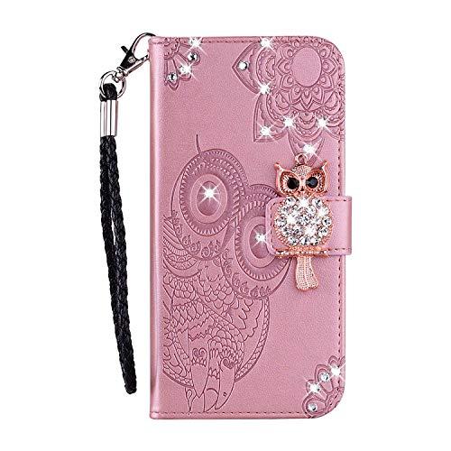 Bear Village® Huawei P30 Lite Hülle, Brieftasche Leder Schutzhülle mit Kartenfach, Eule Magnet Verschluss Klapp Ständer Hülle für Huawei P30 Lite, Rose Gold