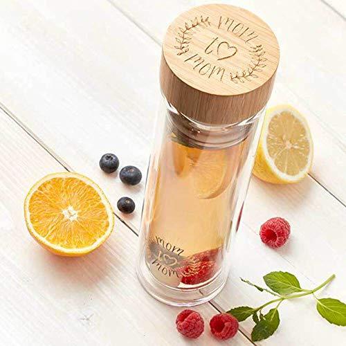 Mom to Mom® Teeflasche - Hochwertige Glas Thermosflasche mit Fruchteinsatz 500ml (inkl. Schutzhülle) Tea to go Flasche – langer Wärmespeicher dank stabiler Wände aus Borosilikatglas (doppelwandig)