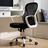 BERLMAN Ergonomic Mid Back Mesh Office Chair Adjustable Height Desk Chair Swivel Chair Computer Chair with Armrest Lumbar Support (White)