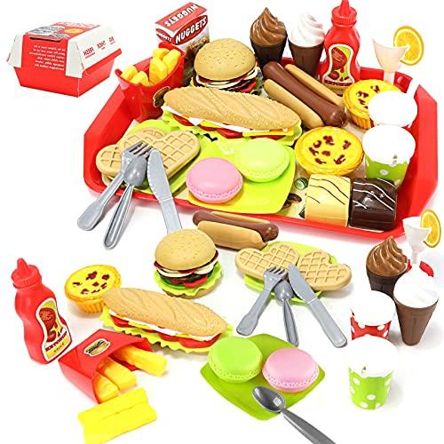 Cocina Alimentos de Juguete Bricolaje Cocinitas Comida Hamburguesa Bandeja Juguete Accesorios Cumpleaños Navidad Regalo para Niños 3 4 5 Años