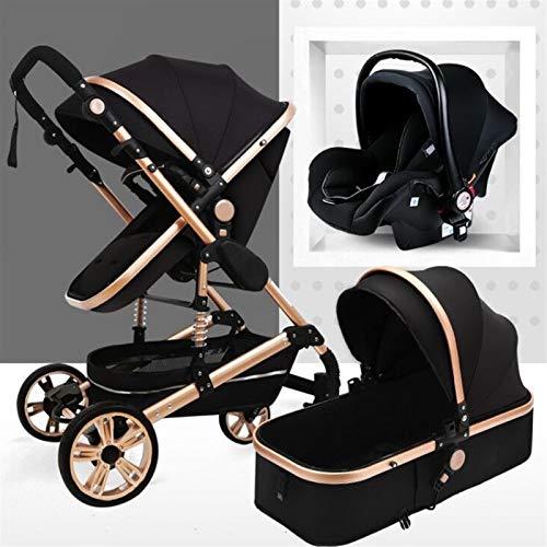 KHUY Carrito de bebé 3 en 1, sistema de viaje 3 en 1, cochecito ajustable de alta vista, sistema de viaje con cesta de bebé y muelles antigolpes, cochecito de bebé (negro)