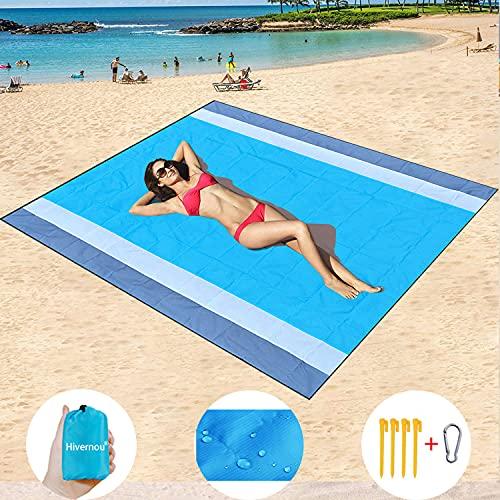 Sand Free Beach Mat Oversized 82' X79' Sand Proof Beach Blanket Outdoor Picnic Mat for Travel,...
