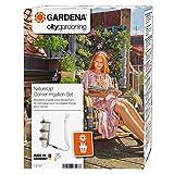 Gardena NatureUp Set de esquina, grifo, sistema de riego invisible para hasta 12 plantas, posibilidad de conexión al programador, Gris, 5.5x22x32 cm