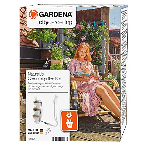 Gardena NatureUp Set de esquina, grifo, sistema de riego invisible para hasta 12 plantas, posibilidad de conexión al programador