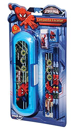 Conjunto Escolar Amazing Spiderman, Blister com 6 Itens, Molin 5183, Multicor
