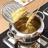 ExH Fritteuse Topf Edelstahl Frittierpfanne Tempura Frittiertopf mit Topfdeckel Sieb Frittier mit Thermometer-Steuerung Antihaft-Bratpfanne für die Küche