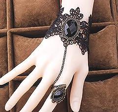 Daimay Black Choker Lace Necklace with Bracelet Set Punk Party Gothic Vintage Handmade Lolita Retro Slave Bracelet Wristband for Women - Style 4 #2