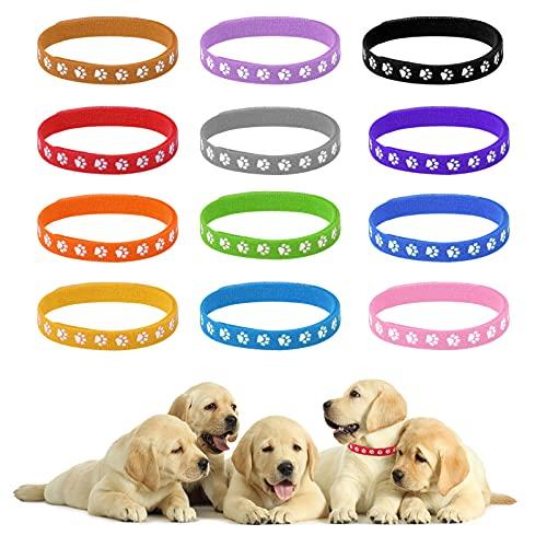 Jinlaili 12 Stück Welpen ID Halsbänder, Doppelseitige Soft Neugeborene Haustierhalsbänder, Mehrfarbiges Einstellbar Welpenhalsbänder, Halsbänder für Neugeborener Hunde Welpen Kitten Haustier
