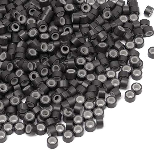 kuou 500Pcs 5mm Micro Rings Nano Beads,Silicone Micro Link Rings Lined Beads for Hair Extensions Tool Black