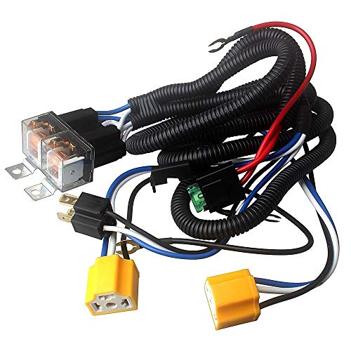 H4 9003 Headlight Relay Wiring Harness Kit, H6054 H4 Socket Plugs H4 Headlamp Light Bulb Ceramic Socket Plugs Relay Harness for Ground Triggered H6054 H5054 H6054LL 6014 6052 6053 Headlights