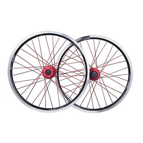 Bike Wheel Pequeño Plegable de Ruedas Bicicleta Conjunto de 20 Pulgadas de aleación de Aluminio de 406 V de liberación rápida del Freno de Disco de Freno del Eje de Rueda