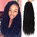 8 Packs 14 Inches Bomb Twist Crochet Hair Spring Twist Hair Crochet Braids Prelooped Passion Twist Hair Braiding Wavy and Bouncy Dreadlocs (14 Inch, Natural Black)