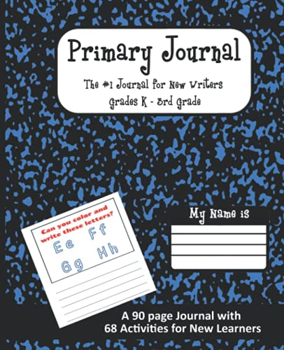 Primary Journal: The #1 Journal for New Writers Grades K-3rd Grade: Dark Blue Marble, Composition Book, Drawing and Writing Jour