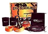 EPIC SLACKLINES Set | 50 Ft x 2 In Kit Slackline Completo con Línea de Entrenamiento, Trinquete de Seguridad, Protectores de Árboles y Estuche de Transporte | Configuración de 5 Minutos