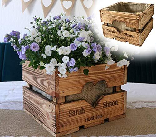 Rustikale OBSTKISTE Blumenkiste TISCHDEKO Hochzeitsgeschenk Center Piece Hochzeitstisch Geschenk Brautpaar Personalisiert aus Holz Vintage Hölzerne Jahrestag Hochzeit Valentin