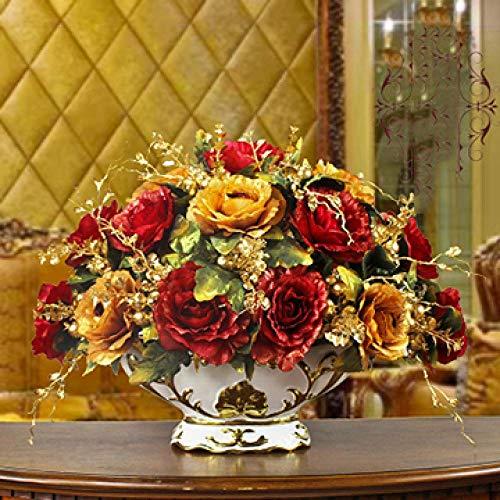 Vase Luxushalle Keramikvase + Künstliche Blumenfiguren Home Crafts Dekoration Veranda Esstisch Gefälschter Blumentopf Ornament Style20
