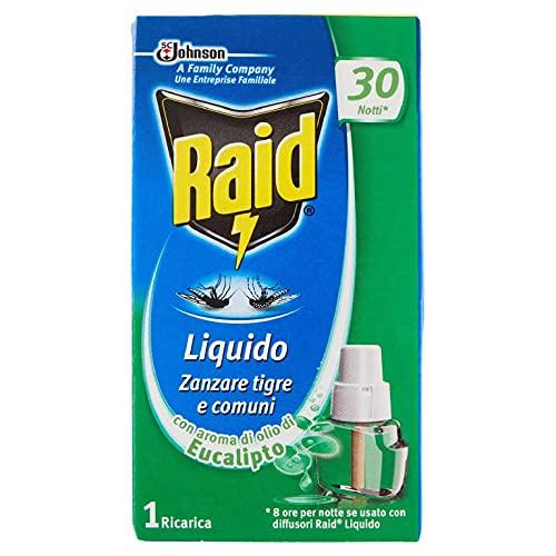 Raid Liquido Elettrico Ricarica, Antizanzare Tigre e Comuni, Confezione da 1 Ricarica da 21 ml, 30 Notti, Profumazione Eucalipto