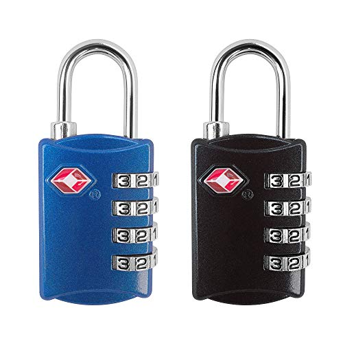 TSA Approved Luggage Lock - 4 Digit Combination Padlock for Travel Luggage Backpack Bag Suitcase Lockers Lock - Pack of 2 (Black Blue)