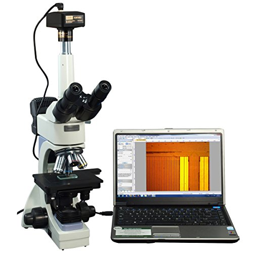 OMAX 40X-2000X Infinity Trinocular Metallurgical Microscope with Transmitted/Reflected Light and 14MP Camera and 100X Dry Objective