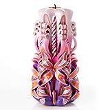 Vela grande sin aroma tallada a mano – Perfecta para decoración casera o como vela de regalo para varias ocasiones - Impresionante color rosa crema con perlas decorativas