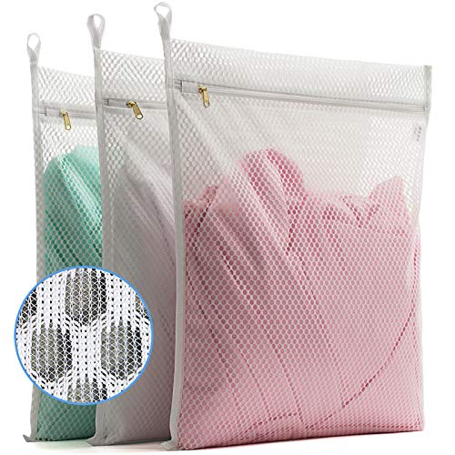 TENRAI 3 Pack 3 Large Delicates Honeycomb Mesh Laundry Bags Socks Fine Mesh Wash Bag for Underwear Lingerie Bra Boxer Use YKK Zipper Have Hanger Loops White