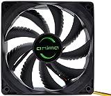 Anima AF12 - Ventilador para ordenador (ecológico y silencioso, 50.000 horas de funcionamiento, 12 cm, 9 aspas), color negro