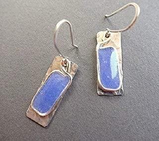 Handmade Lightweight Medium Blue Periwinkle Resin and Aluminum Rectangle Drop Earrings Beads by Bettina
