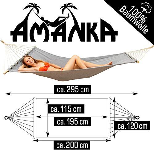AMANKA Doppel Hängematte mit Gestell - 300x100 Garten Hängeliege - Outdoor Hängemattengestell Metall - 2