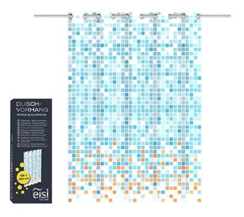 EISL Textil Duschvorhang mit Motiv (180x200 cm) für die Badewanne, waschbarer Antischimmel Vorhang mit wasserdichter Beschichtung, Vollständig Blickdicht Mosaik Blau/Orange