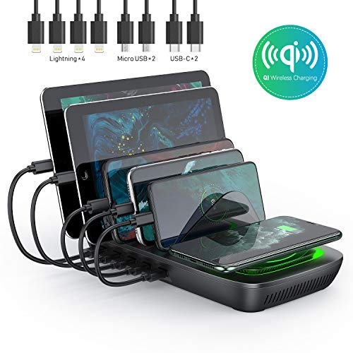Charging Station for Multiple Devices Seenda 5-Port 50W 10A USB Charging Station Organizer Desktop Charger with 8 Short Mixed USB Cables Compatible with iPad iPhone and Android Cell Phone Tablets