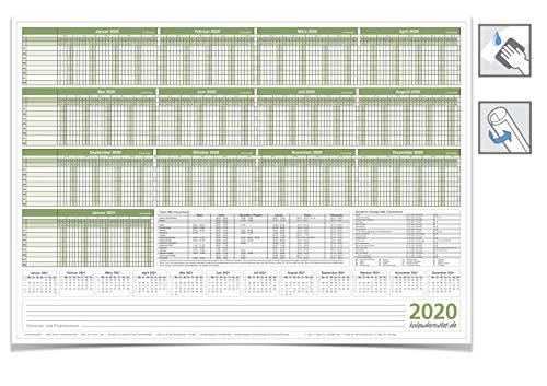 Personalplaner Urlaubsplaner 2020, feucht ABWISCHBAR 59,4 X 42,0 cm für bis zu 8 MITARBEITER