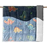 Uttermara Sherpa Weighted Blanket for Kids Glow in The Dark, 3lbs Dual Sided Ultra Cozy Sherpa and Plush Fleece with Luminous Dinosaur, Birthday Fun Gifts for Boys and Girls, 36 x 48 inches, Blue