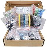 Mega Kit de componentes electrónicos surtido, condensadores, resistencias, LED, transistores, diodos, germanio, 1n270, tomas de CC, opamp, PCB, altavoz, 1900 unidades
