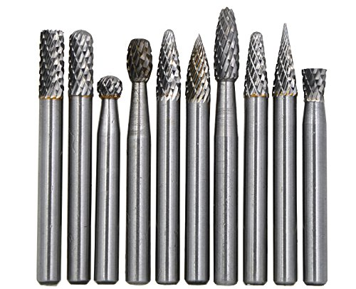 Wokesi 10Pcs,1/4'Cutting Diameter,6mm Shank Diameter,Solid Tungsten Carbide File Cutter Taper Points Burrs Grinding Head Fit Bits Endmills for Rotary Tools (1/4''(6mm))