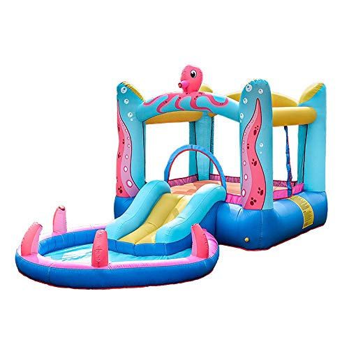 Castillo Hinchable,380×200×180CM,Toboganes Grandes Trampoline Toys Parque De Atracciones con Pistola De Agua Y Área De Piscina Infantil para Niños De Interior Y Exterior