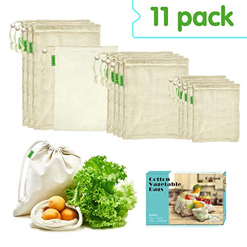 E-Know Produce Bags,11 Pack Reusable Produce Bags,Natural Mesh Cotton Easy to Clean, Zero-Waste Produce Bags,Durable Double-Stitched Seams (3 Small,4 Medium,...