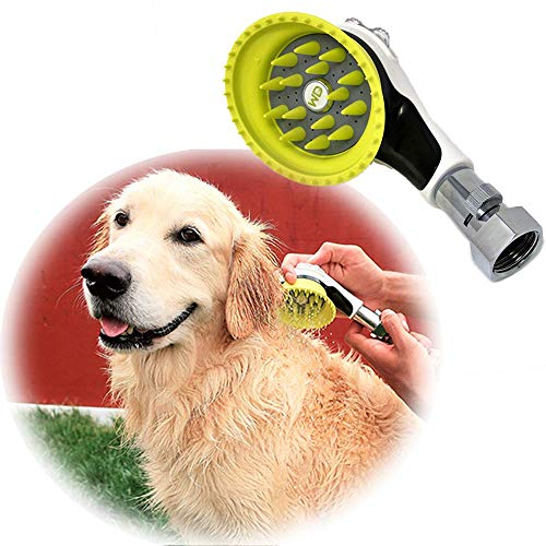 Wondurdog Outdoor Garden Hose Nozzle for Dog Washing with Splash Shield Handle and Rubber Grooming Teeth. Metal Connector and Water Pressure Control. Wash Your Pet. Don't Get Wet!