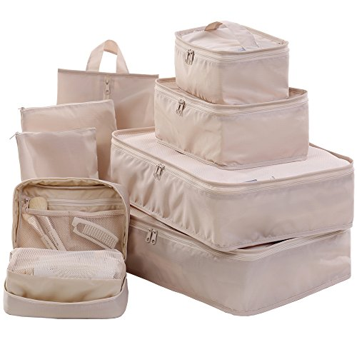 Travel Packing Cubes Set Toiletry Kits Bonus Shoe Bag JJ POWER Luggage Organizers (Beige)