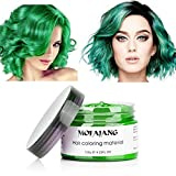 MOFAJANG Green Hair Color Dye Wax 4.23 oz, Instant Hair Wax, Disposable Natural Hairstyle Cream Mud, Hair Pomades, Hair Styling Clays for Men and Women Party Festival Cosplay Halloween