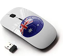 STPlus Australia Australian Soccer Football Ball Flag 2.4 GHz Wireless Mouse with Ergonomic Design and Nano Receiver