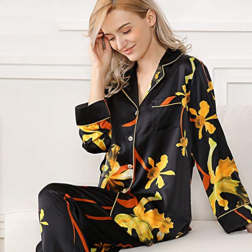ZWLXY Silk Letter Print Sexy Women's Spring Long Sleeve & Pants Pajamas Sets Cute & Lovely Nightwear Sets,Black,XL