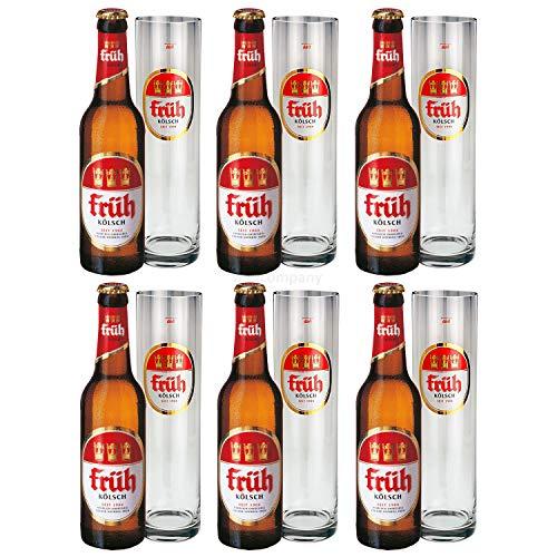 Früh Kölsch Set - 6x Früh Kölsch Bier 0,33L (4,8% Vol) + 6x Biergläser/Stangen 0,2L -[Enthält Sulfite] - Inkl. Pfand MEHRWEG