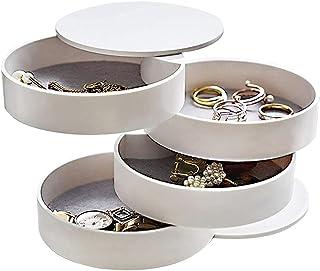 منظم مجوهرات تايتا، حامل أقراط وصندوق تخزين مجوهرات صغير، علبة تخزين مجوهرات دوارة من 4 طبقات مع غطاء للأساور والخواتم وال...